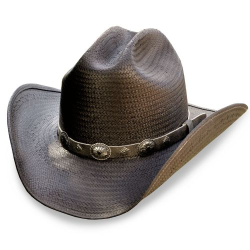 Black Straw Cowboy Hat - Stars & Stripes -Bronx
